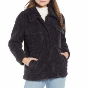 Something Navy Faux Shearling Jacket GRY PHANTM XL